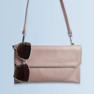 Personalised Nude Pink Leather Clutch Bag – Your Message