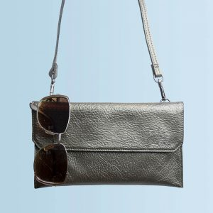 Personalised Metallic Leather Clutch Bag – Your Message