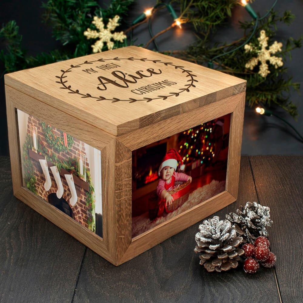 Personalised Oak Photo Keepsake Box – My First Christmas