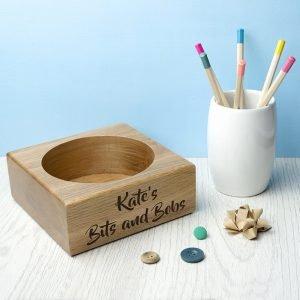 Personalised Solid Oak Desk Tray