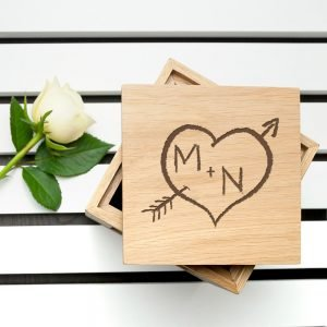 Personalised Oak Photo Cube – Carved Heart