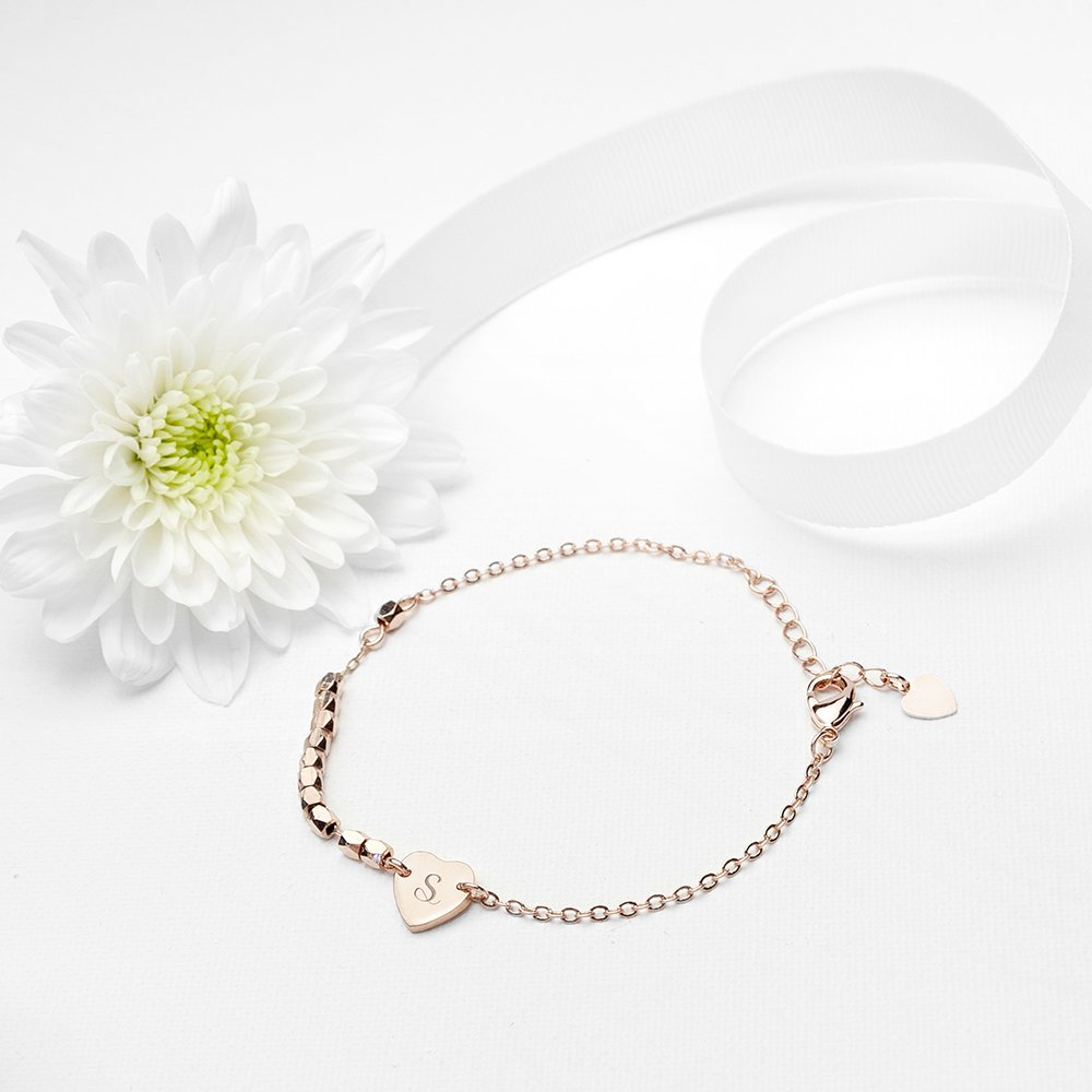 Personalised Heart Charm Bracelet – Initial