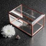 Personalised Rose Gold Glass Jewellery Box – Your Message