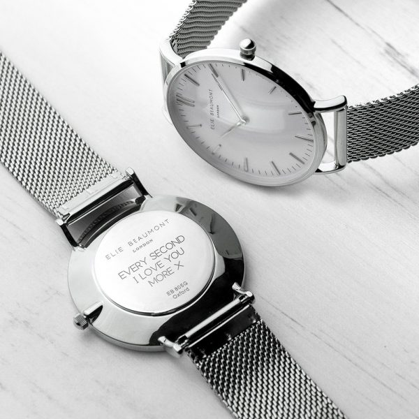 Personalised Ladies Metallic Silver Watch – Your Message