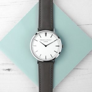 Personalised Mens Ash Leather Watch – Your Message