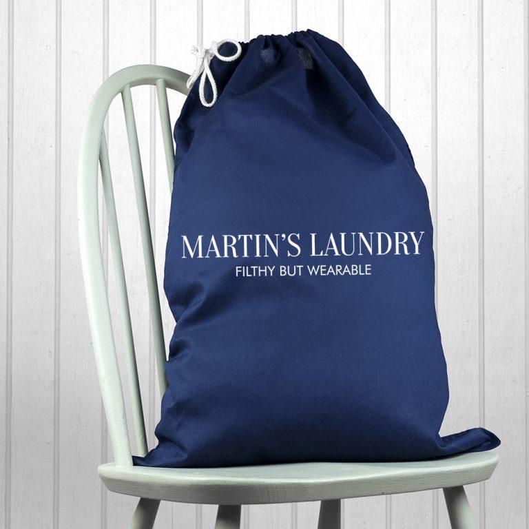 Personalised Large Navy Laundry Bag
