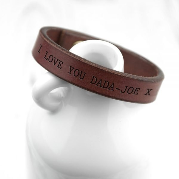 Personalised Mens Brown Leather Bracelet – Your Message