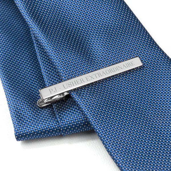 Personalised Rhodium Plated Tie Clip