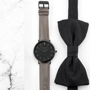 Personalised Mens Ash Leather Watch with Black Face – Your Message
