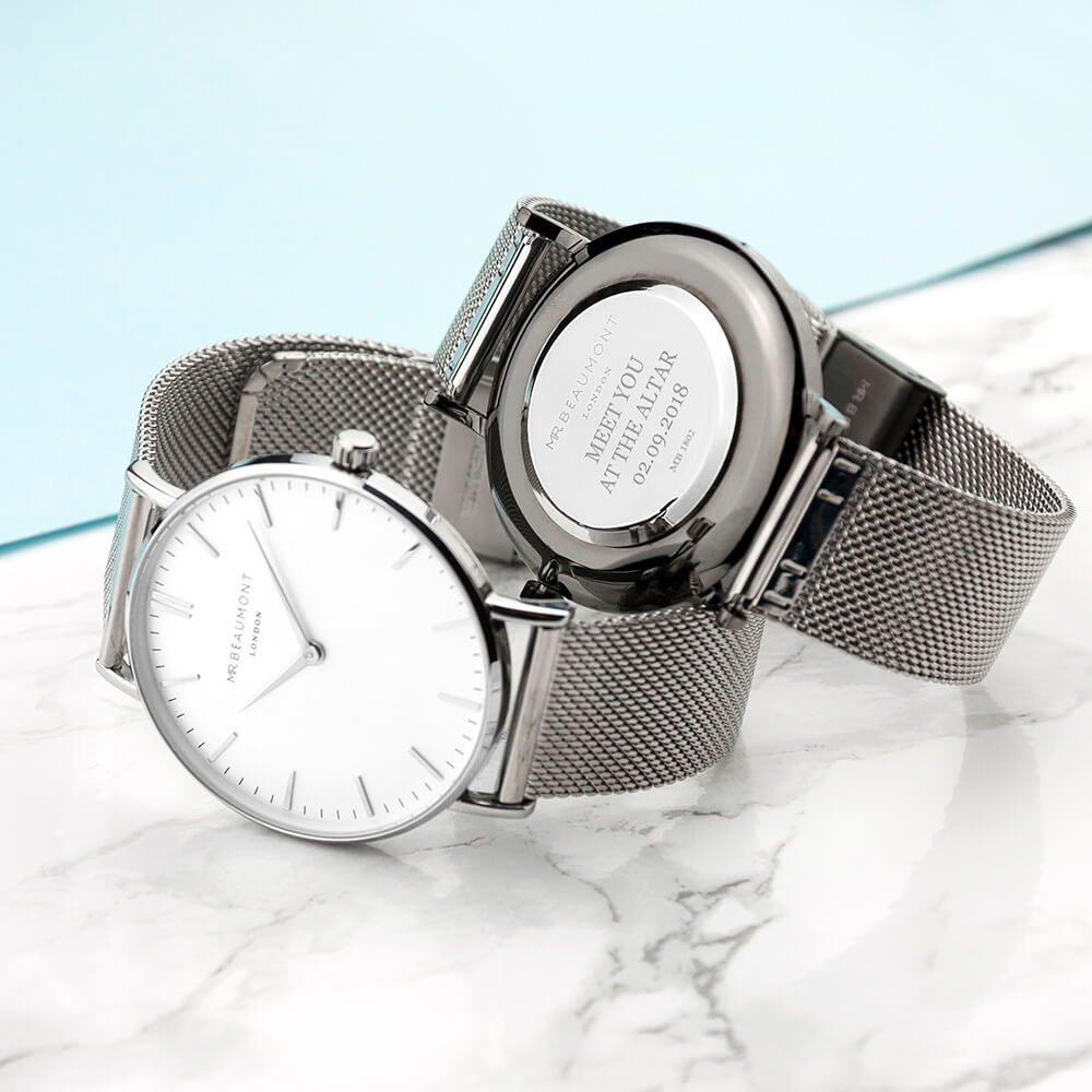 Personalised Mens Metallic Silver Watch – Your Message