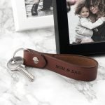 Personalised Brown Leather Key Ring – Your Message