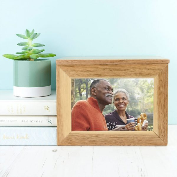 Personalised Oak Photo Keepsake Box – Mr & Mrs (Medium)