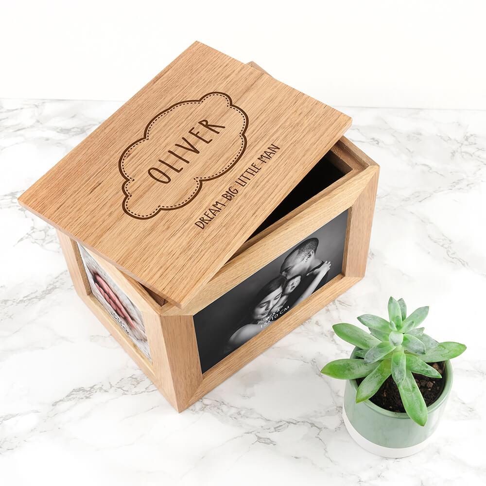 Personalised Oak Photo Keepsake Box – Baby Name in Cloud (Medium)