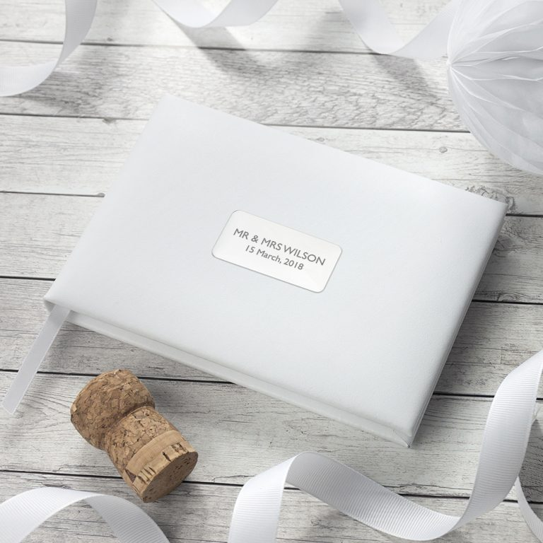 Personalised White Leather Wedding Guest Book (Embossed)