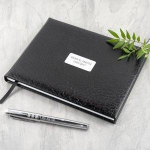 Personalised Black Leather Memoriam Book