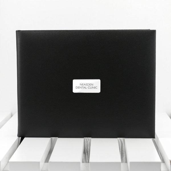 Personalised Black Leather Visitors Book