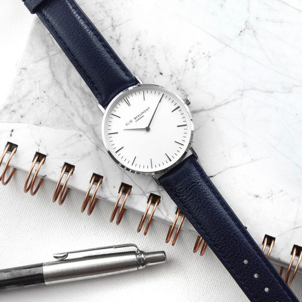 Personalised Ladies Navy Leather Watch – Your Message