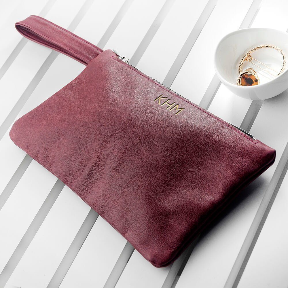 Personalised Burgundy Leather Clutch Bag – Initials