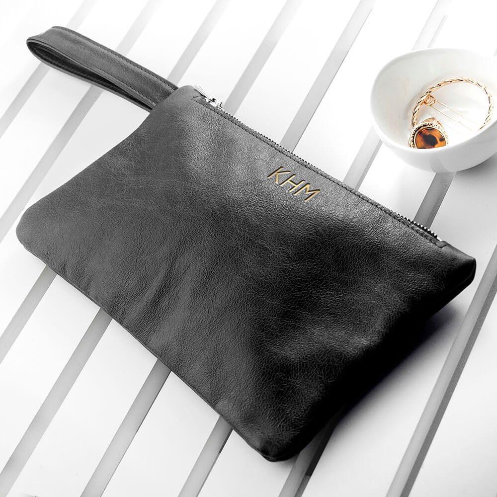 Personalised Black Leather Clutch Bag – Initials