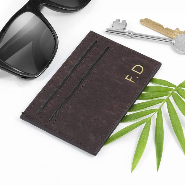 Personalised Natural VEGAN Leather Cork Card Holder – Dark Brown
