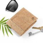Personalised Natural VEGAN Leather Cork Wallet – Creamy Brown