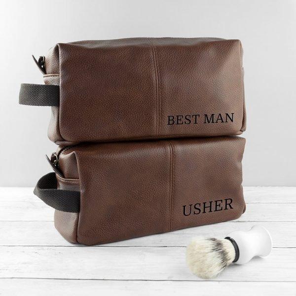 Personalised Vintage Wash Bag (Brown)