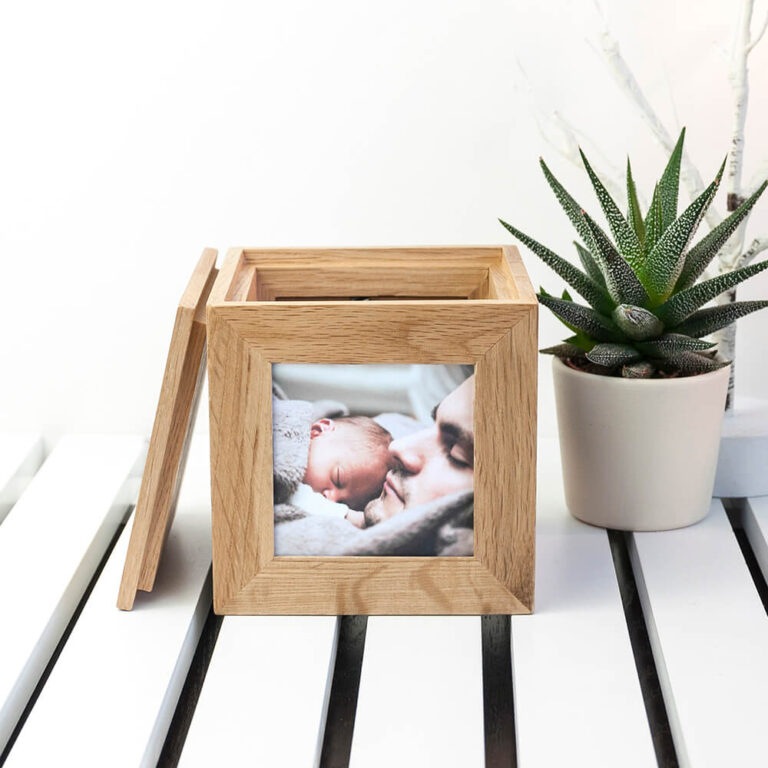 Personalised Oak Photo Cube & Keepsake Box