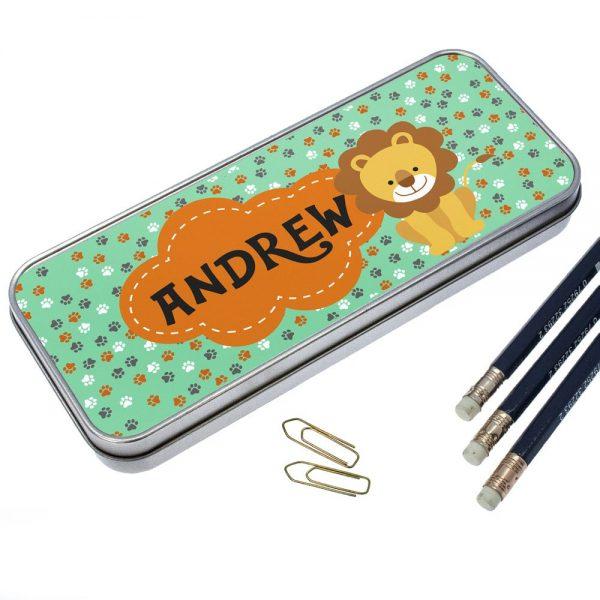 Personalised Happy Lion Pencil Case