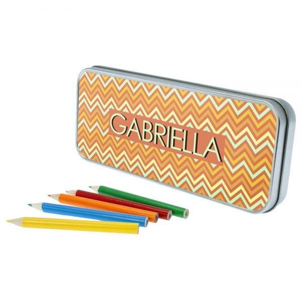 Personalised Orange Chevron Pencil Case