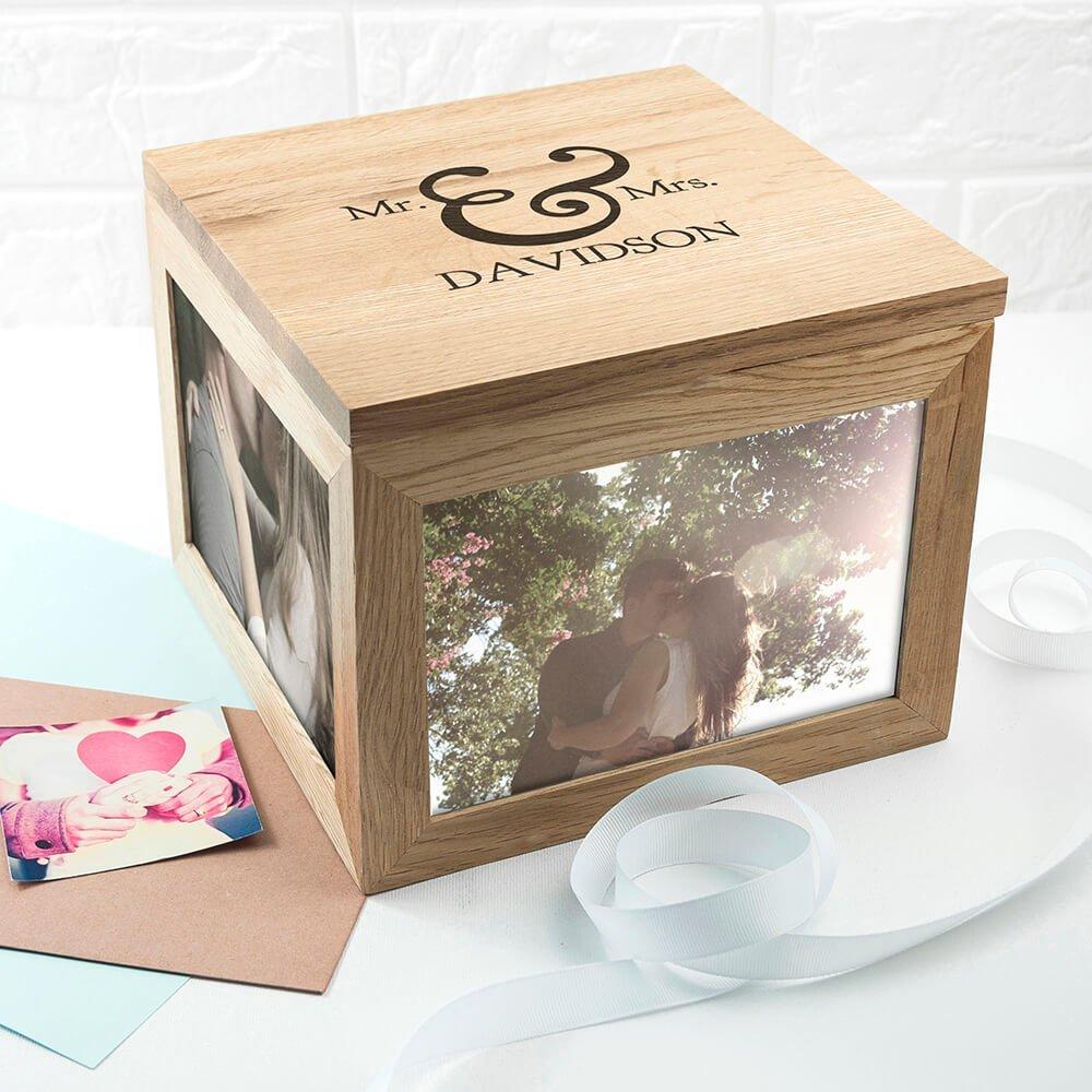 Personalised Oak Photo Keepsake Box – Classic Mr & Mrs