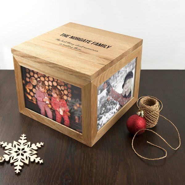 Personalised Oak Photo Keepsake Box – Family