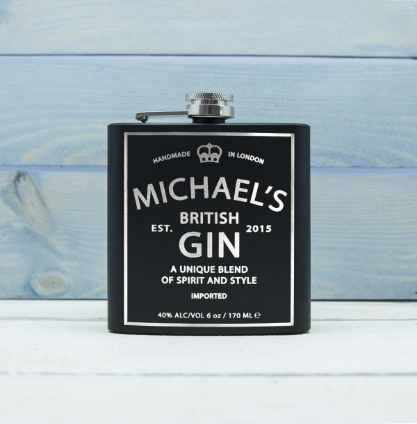 Personalised Hip Flask – Gin Vintage