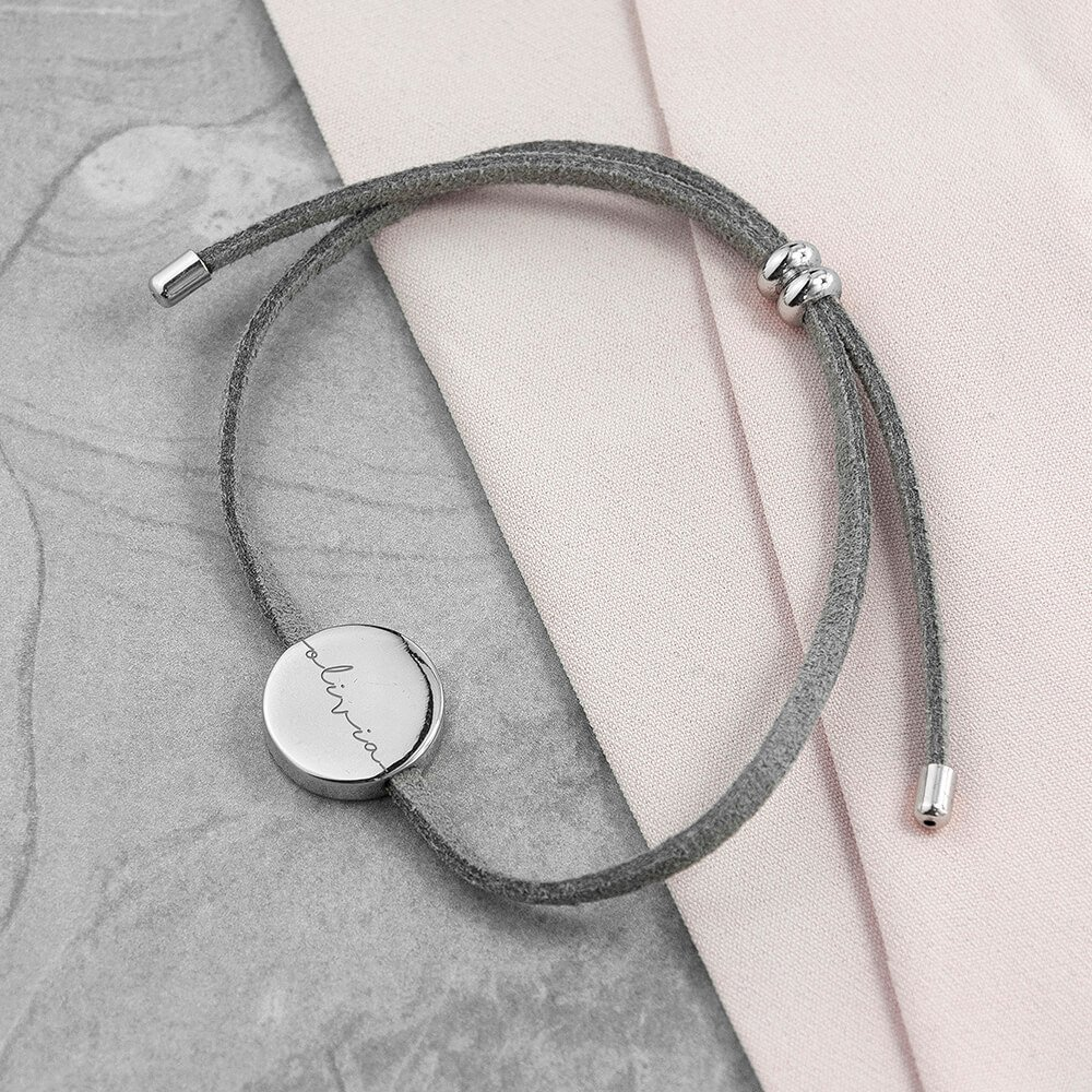 Personalised Always With You Silver & Grey Bracelet – Name