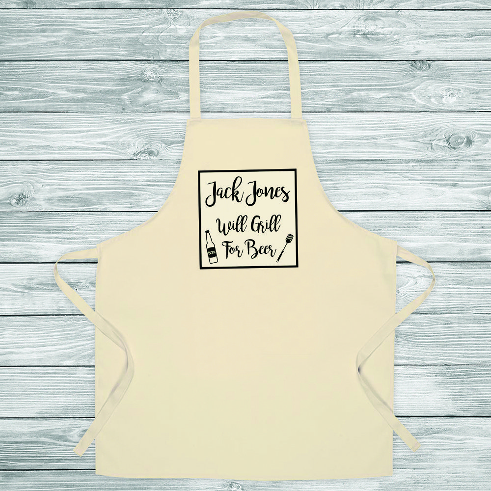 Personalised Apron – Will Grill for Beer