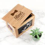 Personalised Oak Photo Keepsake Box – Baby Bow Tie (Medium)