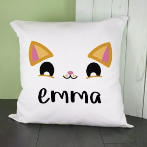Personalised Cushion Cover – Cute Kitten Eyes