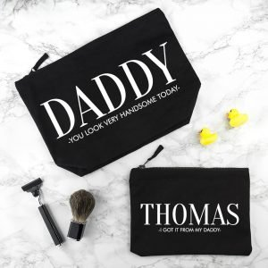 Personalised Wash Bag – Black – Daddy (and me)