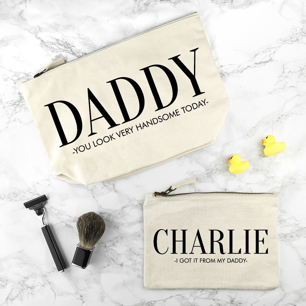 Personalised Wash Bag – Cream – Daddy (and me)
