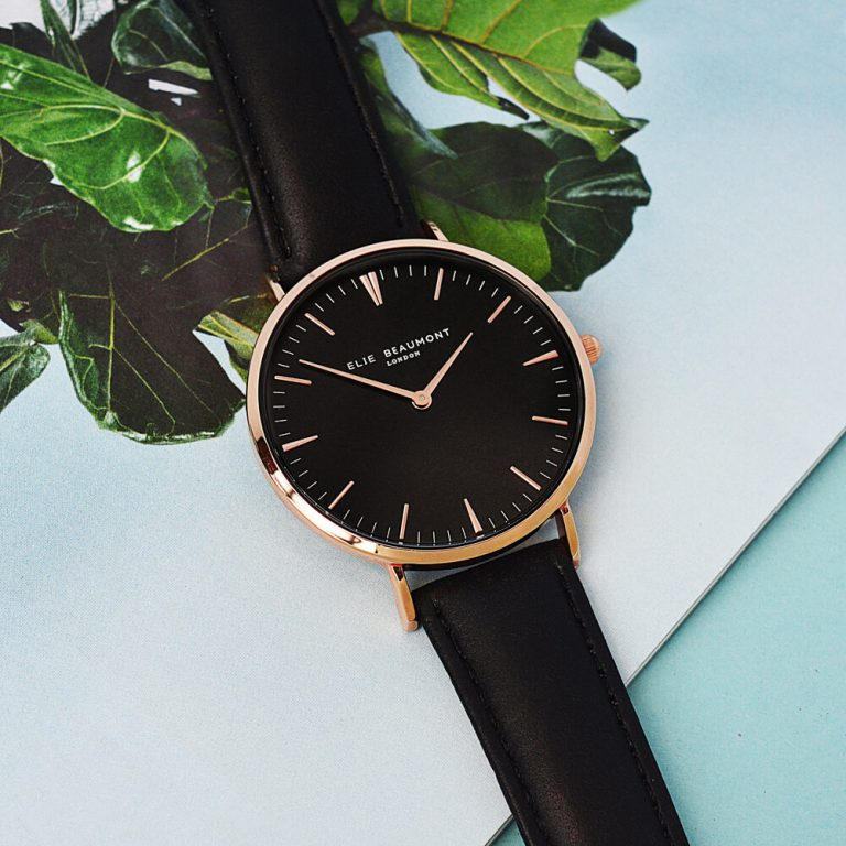 Personalised Ladies Black Leather Watch – Your Message