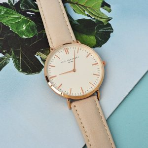 Personalised Ladies Stone Leather Watch – Your Message