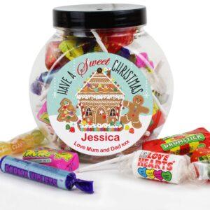 Personalised Gingerbread House Sweet Gift Jar