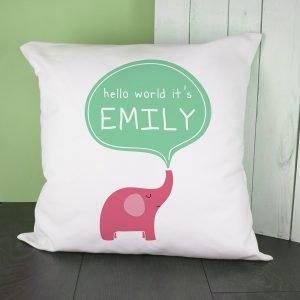 Personalised Cushion Cover – Hello World Elephant