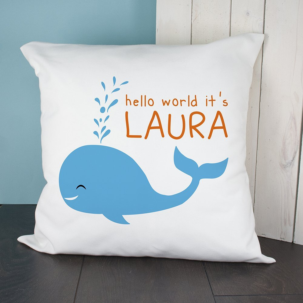 Personalised Cushion Cover – Hello World Whale