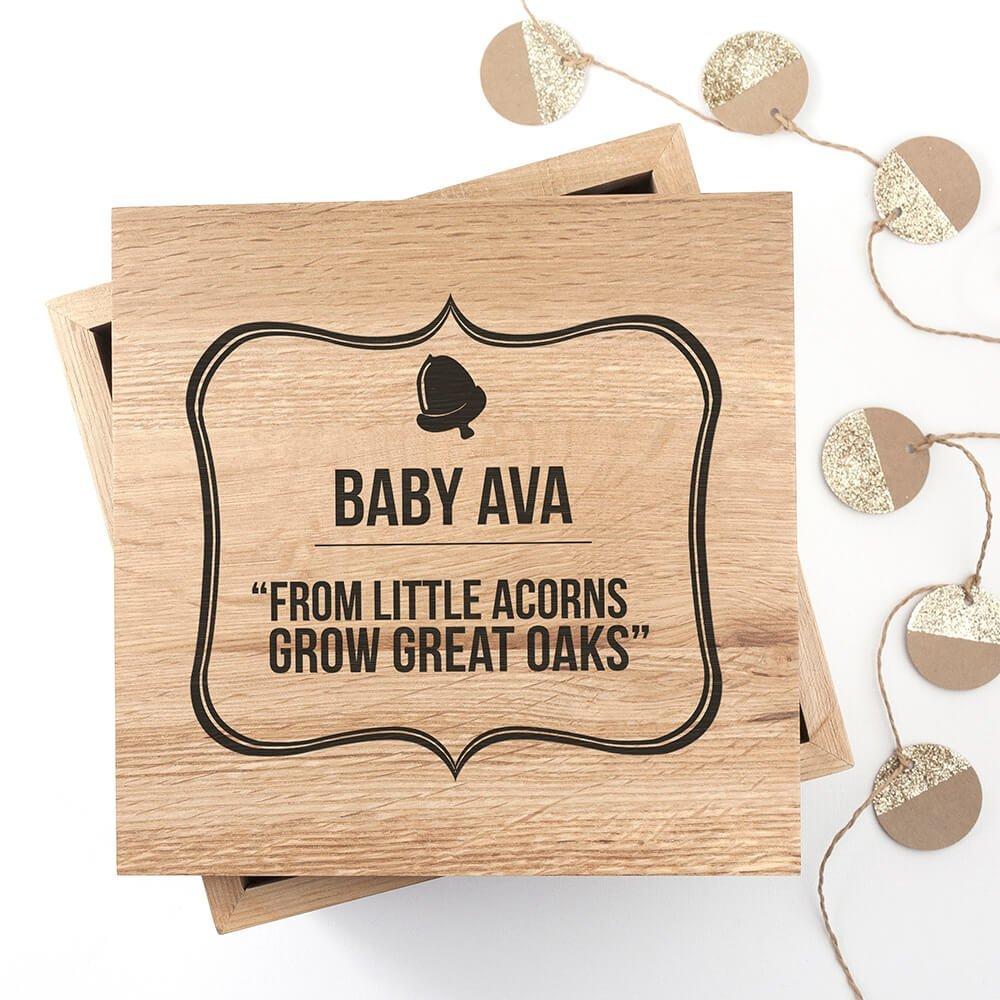 Personalised Oak Photo Keepsake Box – Acorns