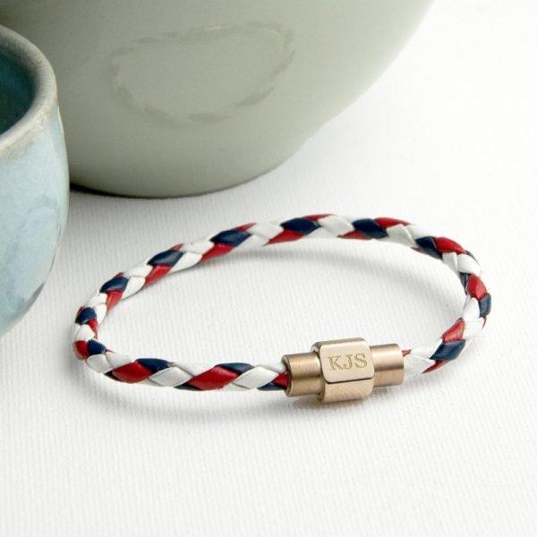 Personalised Men's Nautical Leather Bracelet – Initials