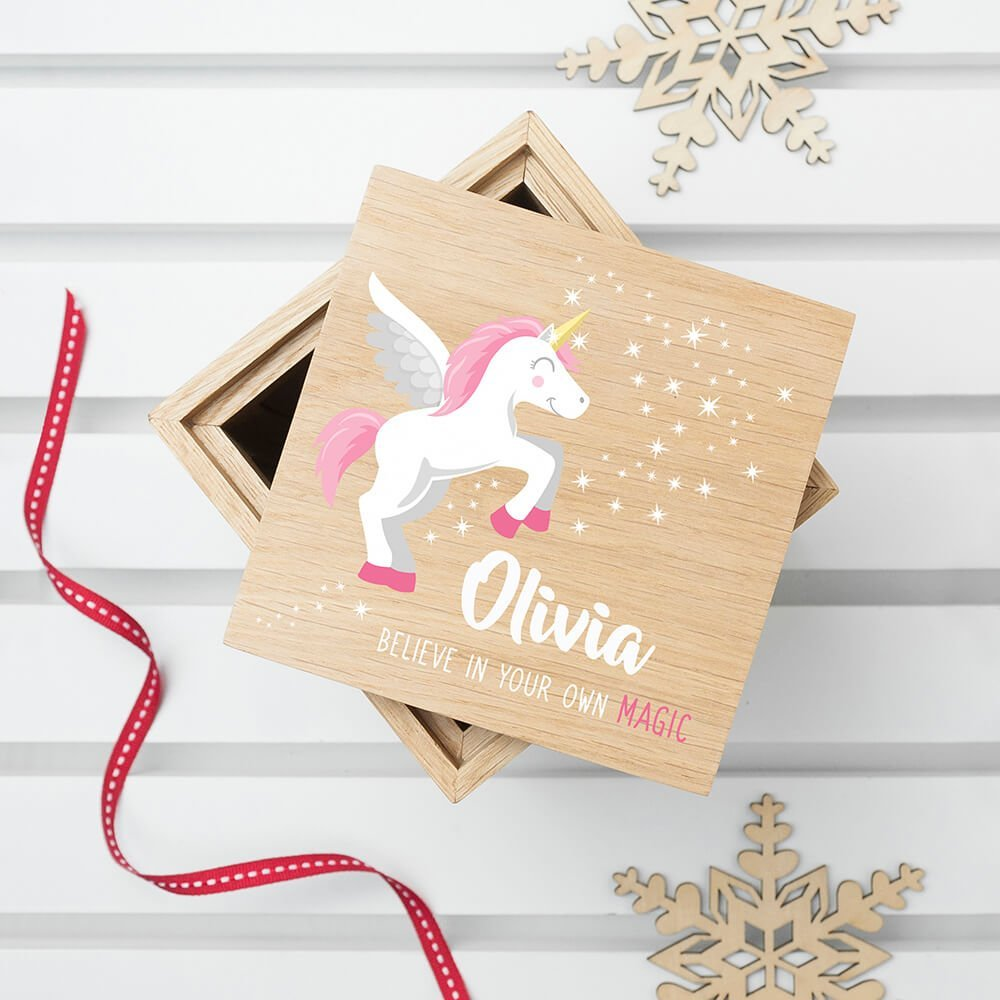 Personalised Oak Photo Cube – Baby Unicorn