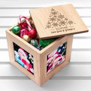 Personalised Oak Photo Cube – Christmas Festive Treats