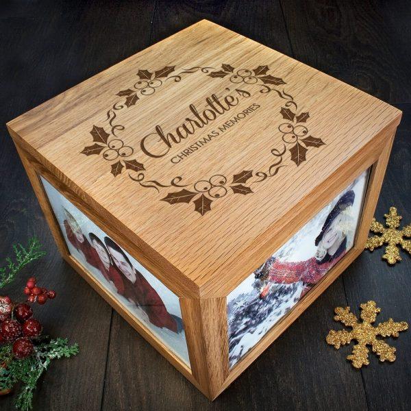 Personalised Oak Photo Keepsake Box – Christmas Memories