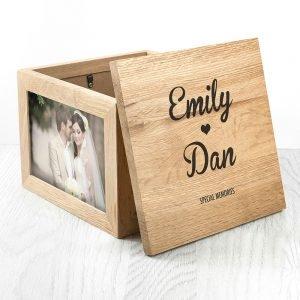 Personalised Oak Photo Keepsake Box – Couples Names (Large)