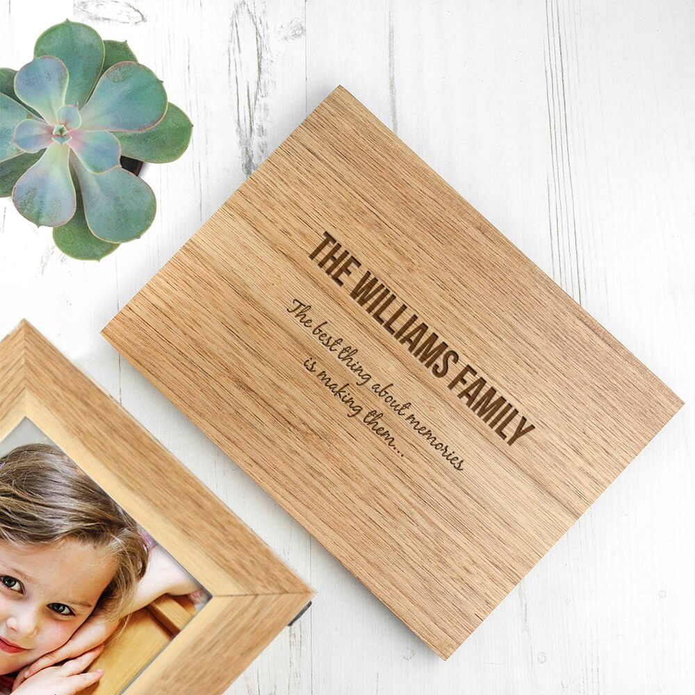 Personalised Oak Photo Keepsake Box – Family (Medium)